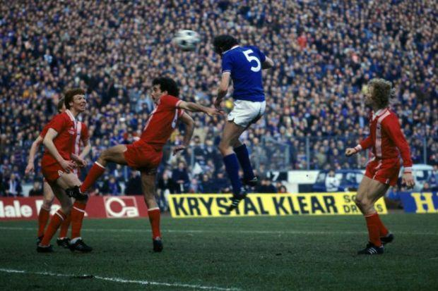 Colin Jackson rises above the Aberdeen defence to head home Rangers' last-gasp winner in their 2-1 victory in the 1979 League Cup final at Hampden