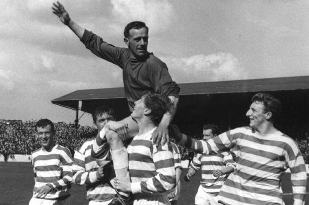 Ronnie Simpson is carried off the park by his team-mates after Celtic won the Scottish First Division championship at Fir Park in 1966. #SportTimestop50