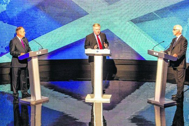 Alex Salmond and Alistair Darling go head to head in the TV debate chaired by Bernard ­Ponsonby