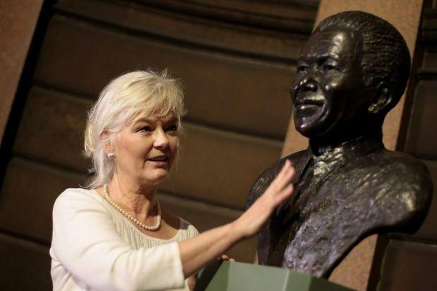 Sculptor Deirdre Nicholls with the bust