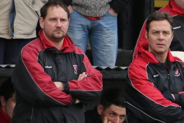 Clydebank boss Budgie McGhie (right) and his assistant Stuart Allison hope to unveil a new signing against Hurlford