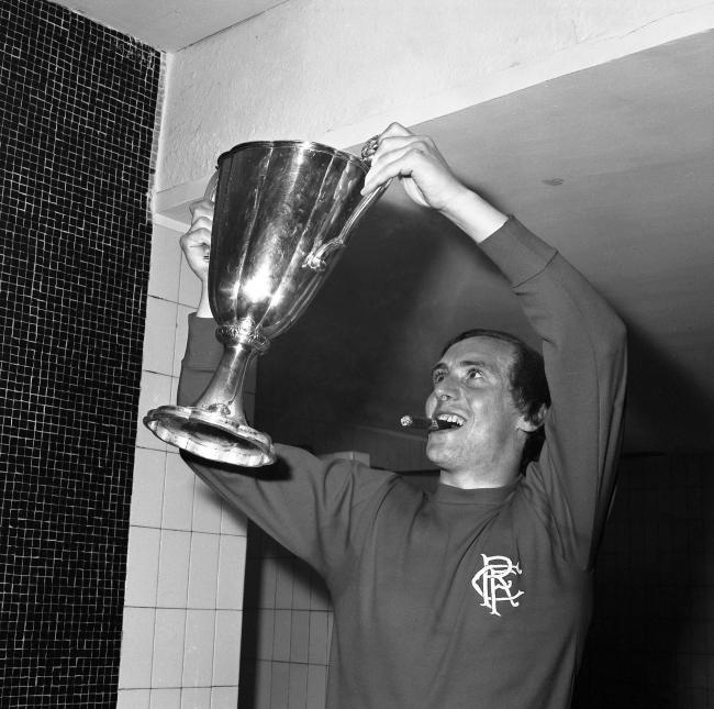 Colin Stein proudly holds aloft the European Cup-Winners' Cup trophy after Rangers had beaten Moscow Dynamo 3-2 in Barcelona in 1972