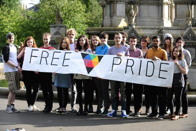 GLASGOW, SCOTLAND - JULY 14: Organisers of Glasgow's Free pride event pose for a photograph in Kelvingrove Park. They are hosting the free event next month as an alternative to the other pride march which attendees now have to pay for
