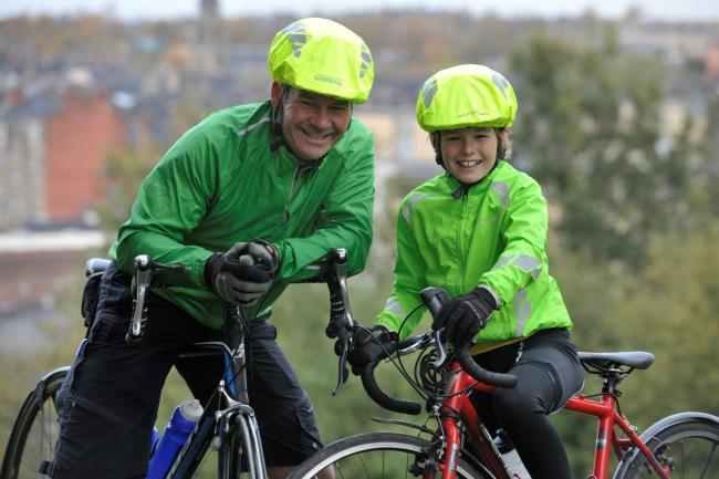Patrick Kiehlmann and his dad Mark on their fundraising journey last year. Picture: Nick Ponty
