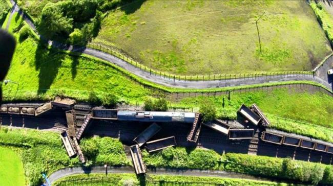 Aerial view of crash site where two freight trains collided near New Cumnock, Ayrshire, in August 2015.
