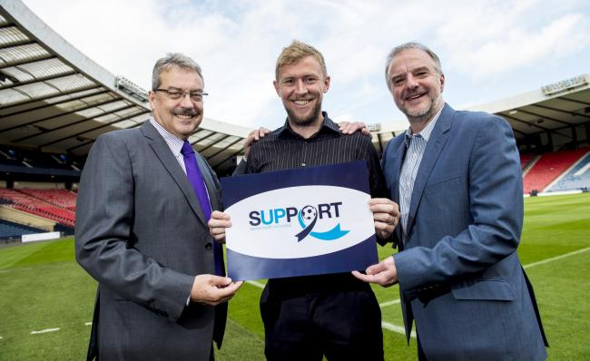 30/08/16 .  HAMPDEN - GLASGOW  .  (L/R) Dr John MacLean, Hampden Sports Clinic Chief Executive and Scottish FAa€™s Medical Consultant, Inverness CT manager Richie Foran and Chief Executive of PFA Scotland Fraser Wishart are on hand to launch Sup