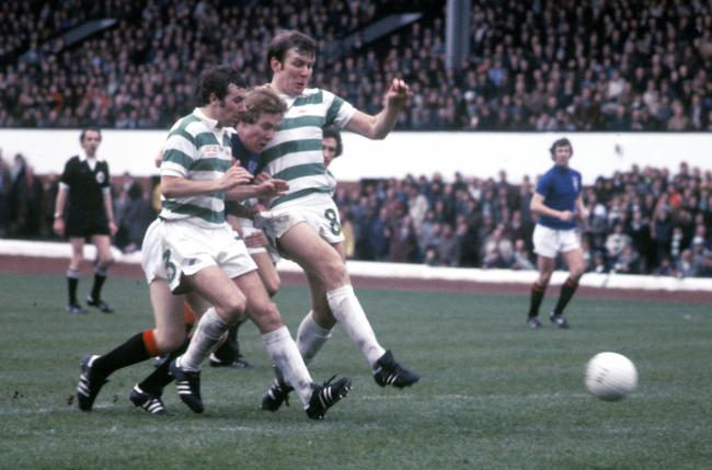 Celtic's Andy Lynch (left) and John Hughes (right) squeeze out Chris Robertson of Rangers
