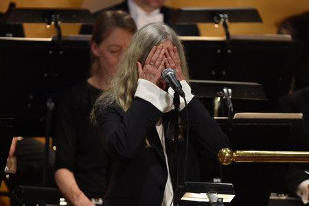 Glasgow Times: Stockholm, Sweden - December 10: Patty Smith performs during the Nobel Prize ceremony at a concert hall in Stockholm, Sweden on December 10, 2016.  (Photo by Pascal Lee Sigertin / Getty Images)