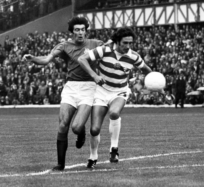 Rangers' Gordon Smith battles for possession with Celtic defender Roddie MacDonald during a league encounter at Ibrox in 1977