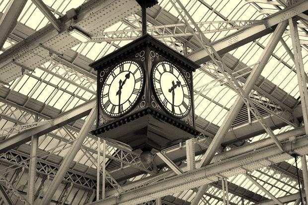 The clock in Glasgow Central Station