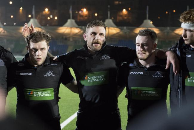 Tone setter: Callum Gibbins, left, with Scotland full-back Stuart Hogg after Friday's defeat of Connacht