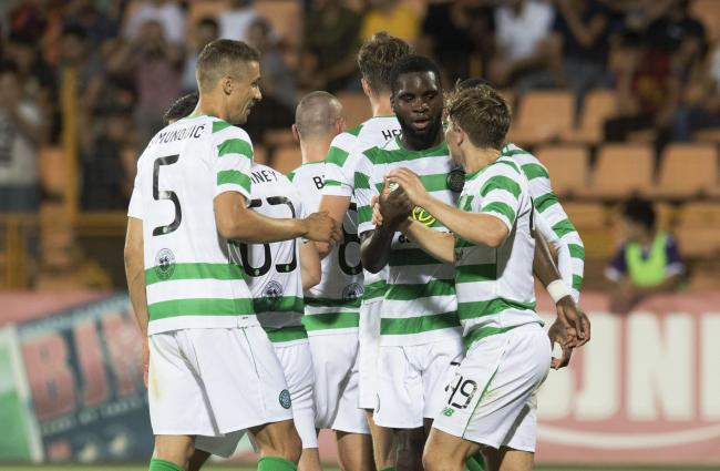 Celtic's Odsonne Edouard (second right) celebrates his goal with his teammates..