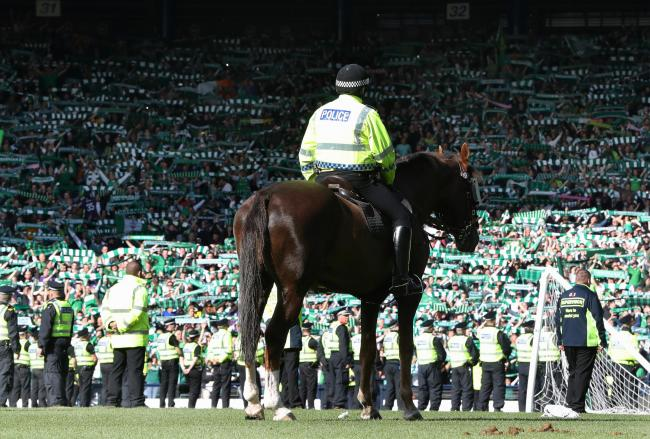 Mounted police pictured at Hampden