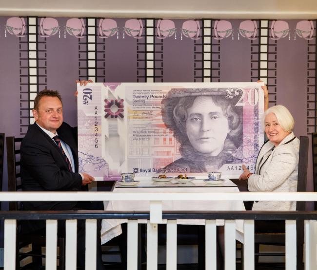 RBS Malcolm Buchanan and Celia Sinclair- Thornqvist with the new note...Exclusive unveiling of the design of new £20 polymer note at  Willow Tea Rooms Building, Sauchiehall Street , Glasgow,