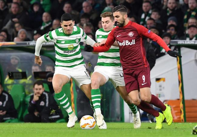 13/12/18 EUROPA LEAGUE GROUP B.CELTIC v RED BULL SALZBURG.CELTIC PARK - GLASGOW.Celtic's Tom Rogic and James Forrest compete with RB Salzburg's Moanes Dabour (right).