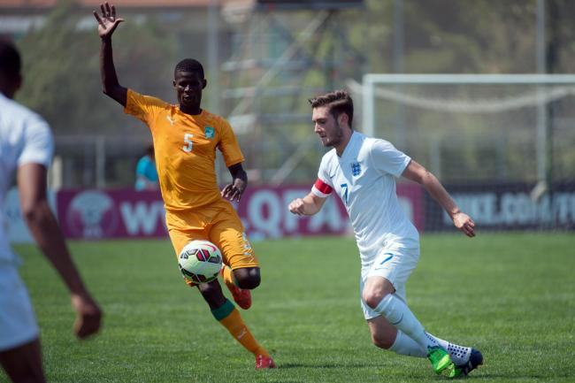 Celtic target Vakoun Issouf Bayo in action against an England under-21 side