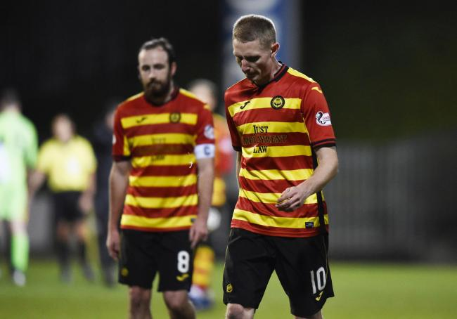 Chris Erskine leaves the field on Saturday after his last appearance for Partick Thistle on Saturday.