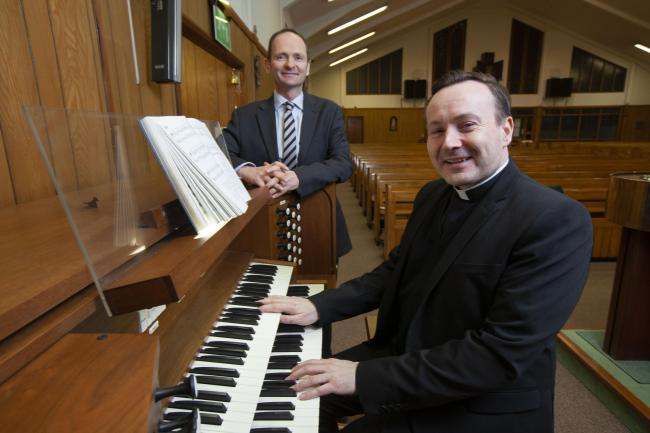 David Sutherland, Project Director, Jordanhill Park; Father Nick Monaghan, Parish Priest, St Dominic's