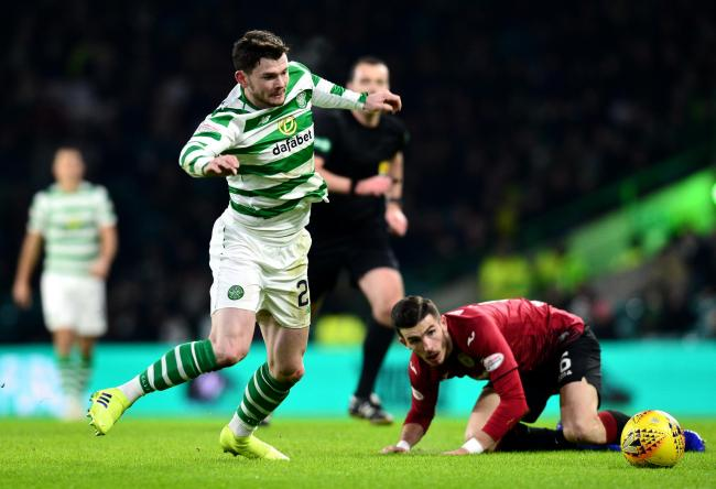Oliver Burke of Celtic in action during the Ladbrokes Scottish Premiership match between Celtic and St Mirren at Celtic Park on January 23, 2019