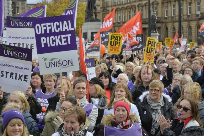 "Equal pay Strike Glasgow 23/10/18..Hundreds of schools are shut and home care services are affected in Glasgow as council workers stage one of the UK's biggest strikes over equal pay...About 8,000 workers are striking amid a ""lack of progress&quo"