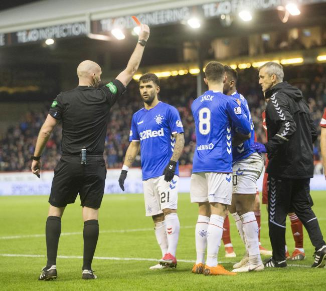 Alfredo Morelos (second right, obscured) is sent off during the Ladbrokes Scottish Premiership match at Pittodrie