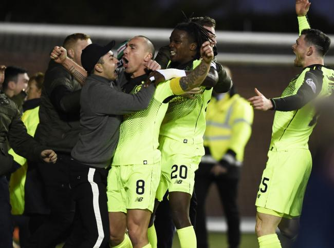 Scott Brown celebrates after his late winner at Rugby Park last season, a pivotal moment in the title race according to Callum McGregor.