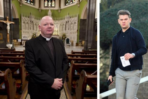 Father Thomas White (left) and thug Bradley Wallace (right)
