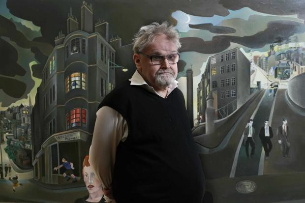 Artist Alasdair Gray pictured in front of his painting 'Cowcaddens' which forms part of the joint exhibition with himself and his late friend, Alasdair Taylor 'The Two Alisdairs'  at the Glasgow School of Art..