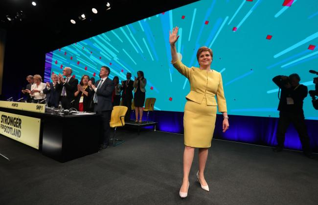First Minister Nicola Sturgeon waves to delegates after speaking during the SNP spring conference at the EICC in Edinburgh. PRESS ASSOCIATION Photo. Picture date: Sunday April 28, 2019. See PA story POLITICS SNP Sturgeon. Photo credit should read: Andrew