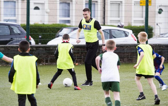 Celtic youth coach Stephen McManus at a McDonald's Fun Football Centre in Renfrew