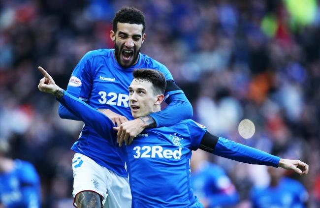 Connor Goldson and Ryan Jack celebrate
