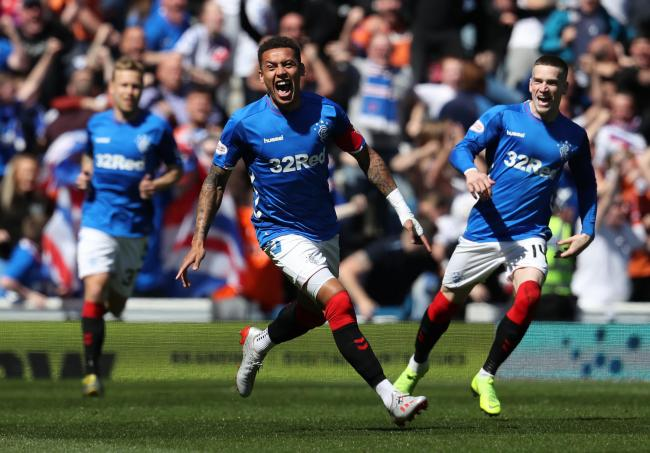 James Tavernier celebrates scoring his side's first goal of the game during the Ladbrokes Scottish Premiership match at Ibrox