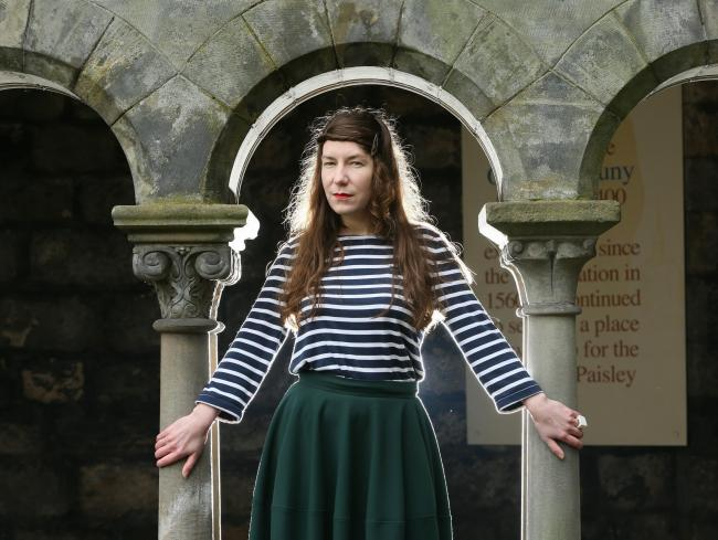 Singer/songwriter Kathryn Joseph pictured in the cloisters of Paisley Abbey for the launch of the Scottish Album of the Year award that will be held in Paisley in 2016 and 2017. Kathryn won Scottish Album of the Year 2015...   Photograph by Colin Mearns.1