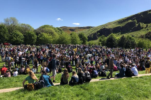 Glasgow Times: School pupils take part in a climate strike outside Holyrood