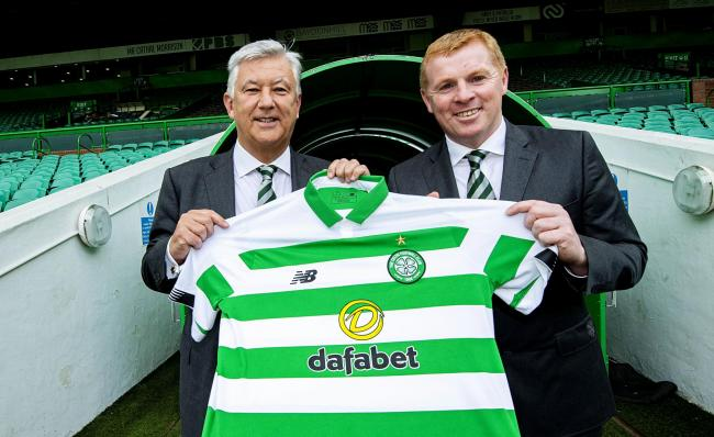 Neil Lennon, right, alongside Celtic chief executive Peter Lawwell last year as he is confirmed as Parkhead manager.