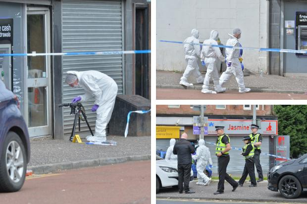 Forensic teams on the scene at Lambhill on Tuesday following stabbing on a 29-year-old man.